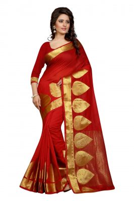Buy Holyday Womens Poly Cotton Saree, Red (raj_pan_red) online