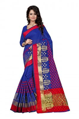 Buy Holyday Womens Poly Cotton Saree, Blue (raj_pari_blue) online