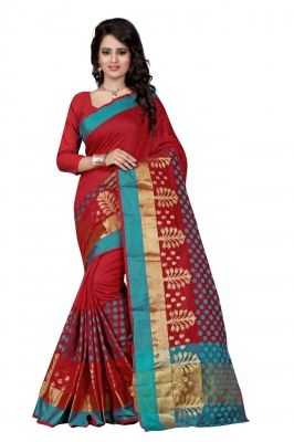 Buy Holyday Womens Poly Cotton Saree, Red (raj_pari_red) online