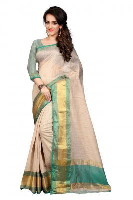 Buy Holyday Womens Cotton Silk Saree, Green (raj_simple_green) online