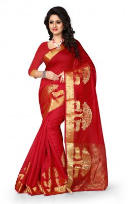 Buy Holyday Womens Poly Cotton Saree, Red (raj_tree_red) online