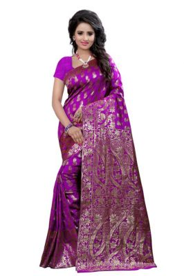 Buy Holyday Womens Tassar Silk Self Design Saree, Purple (banarasi_beauty_purple) online