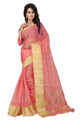 Buy Holyday Womens Silk Cotton Saree, Pink (raj_orgenza_baby Pink) online