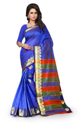Buy Holyday Womens Tassar Silk Self Design Saree, Blue (sandy_butti_blue) online