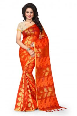 Buy Holyday Womens Poly Cotton Saree, Orange (sandy_jalar_red-orange) online