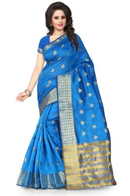 Buy Holyday Womens Poly Cotton Self Design Saree, Navy Blue (tamasha_butti_navy Blue) online