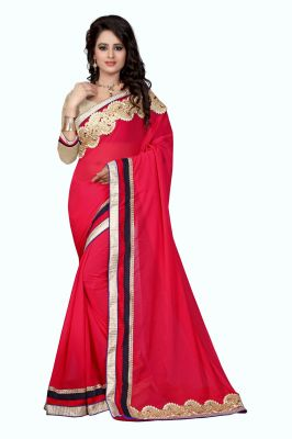 Buy Holyday Womens Georgette Saree, Red (designer_patch_red) online