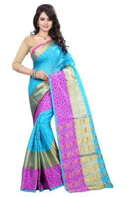 Buy Holyday Womens Brasso Thread Saree_ Sky Blue (with Blouse) online