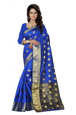 Buy Holyday Womens Cotton Silk Saree, Blue (tamasha_beauty_blue) online