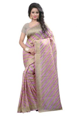 Buy Holyday Womens Poly Cotton Self Design Saree, Pink (raj_cotton_leriya_pink) online