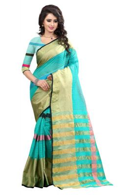 Buy Holyday Womens Banarasi Silk Thread Saree_ Sky Blue (with Blouse) online