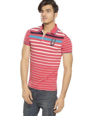 7eb90c37 Buy Bonaty Cotton Polo Neck Stripes T-shirt For Men Online | Best ...