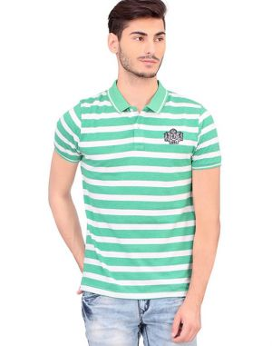 Buy Bonaty Cotton Pique Polo Neck Stripes T-shirt For Men online