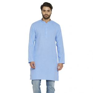 Buy Irin Ethnic Poly Cotton Blue Self Design Straight Kurta For Men online