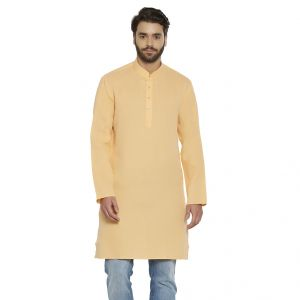 Buy Irin Ethnic Poly Cotton Orange Self Design Straight Kurta For Men online