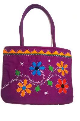 Buy Irin Handcrafted Floral Patchwork Purple Cotton Shoulder Bag online