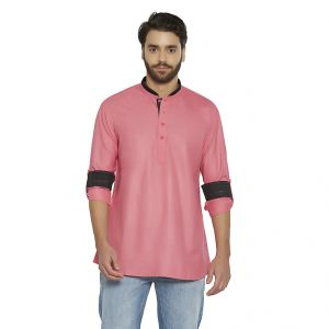 Buy Irin Ethnic Poly Cotton Pink Solid Straight Short Kurta For Men online