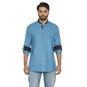 Buy Irin Ethnic Poly Cotton Turquoise Solid Straight Short Kurta For Men online