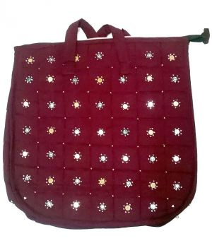 Buy Irin Handcrafted Maroon Cotton Shopping Bag online