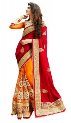Buy Fad Dadu Designer Red And Orange Silk And Net Saree (fv3063) online