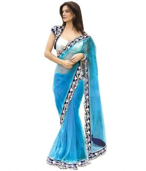 Buy Sargam Fashion Rasal Net Blue Embroidered Saree With Unstitched Blouse online