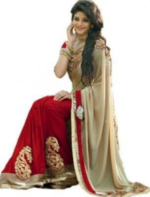 Buy Bikaw Designer Beige And Red Color Embroidered Beautiful Saree online