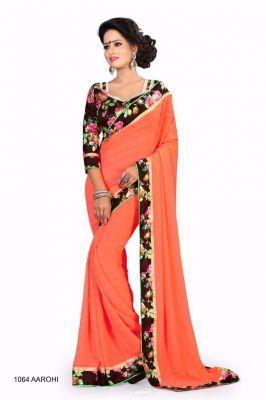 d9214193af Buy Sargam Fashion Printed Orange Georgette Traditional Partywear Saree.  online
