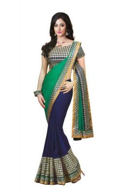Buy Bikaw Embroidered Turquoise Georgette Party Wear Saree online