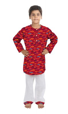 Buy Oranges And Lemons Mustache Print Cotton Fabric Kurta & Pyjama Set For Boys online