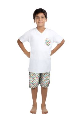 Buy Oranges And Lemons Hot Air Balloon Print Cotton Fabric Tshirt & Short Set For Boys online