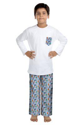 Buy Oranges And Lemons Robot Print Cotton Fabric Tshirt & Pyjama Set For Boys online