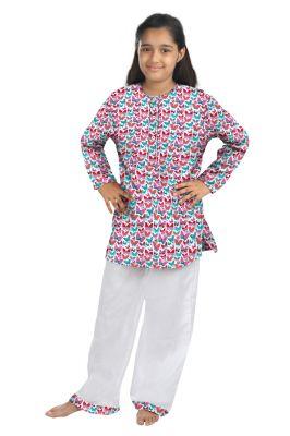 Buy Oranges And Lemons Butterfly Print Cotton Fabric Kurta & Pyjama Set For Girls online