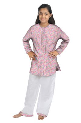 Buy Oranges And Lemons Pink Chicks Print Cotton Fabric Kurta & Pyjama Set For Girls online