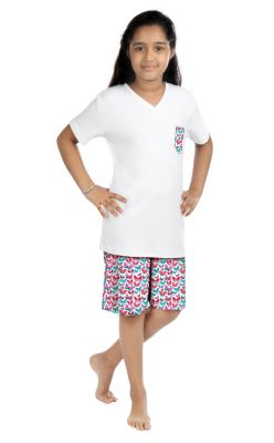 Buy Oranges And Lemons Butterfly Print Cotton Fabric Tshirt & Short Set For Girls online