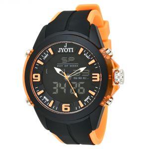Buy Jack Rachel Men Black And Orange Analog Digital Watch online