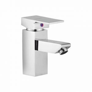 Buy Oleanna Square Brass Single Lever Basin Mixer Silver Water Mixer online