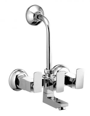 Buy Oleanna Kubix Brass Wall Mixer Telephonic With L-bend Silver Water Mixer online