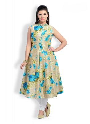 Buy Zola Latest Designer Silk Firozi Printed Kurti (product Code - 177303) online