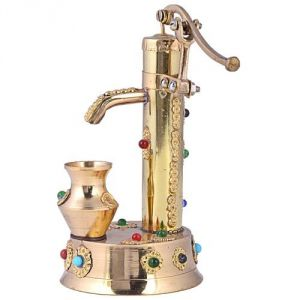 Buy Brass Stone Studded Working Handpump Showpiece from Rajasthan online