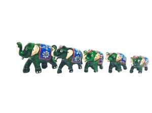 Buy Paper Mache Work Elephant Family Set Of 5 Showpiece from Rajasthan online