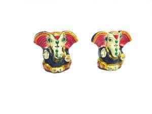 Buy Meenakari Multicolored Metallic Lord Ganesha Idol Set Of 2 online