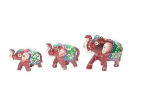 Buy Paper Mache Work Elephant Family Set Of 3 Showpiece online