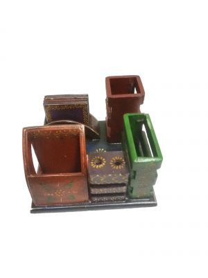 Buy Mariyam Wooden Embossed Work Multicolor 5 In 1 Office Desk Organizer Showpiece online