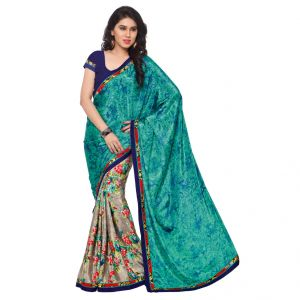 Buy Kotton Mantra Women's Light Sea Green Crepe Silk Fashion Saree ( Kmsm105b ) online