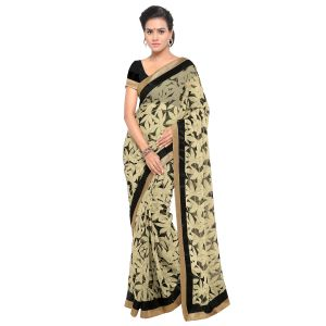 Buy Kotton Mantra Off-White Georgette Lace Designer Saree With Unstitched Blouse Piece online