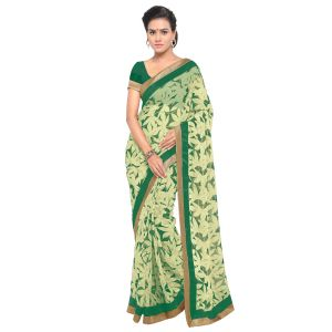 Buy Kotton Mantra Green Georgette Lace Designer Saree With Unstitched Blouse Piece online