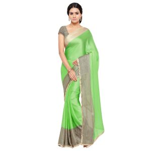 Buy Kotton Mantra Green Satin Lace Border Designer & Party wear Saree With Blouse Piece online