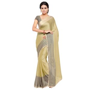 Buy Kotton Mantra Brown Satin Lace Border Designer & Party wear Saree With Blouse Piece online