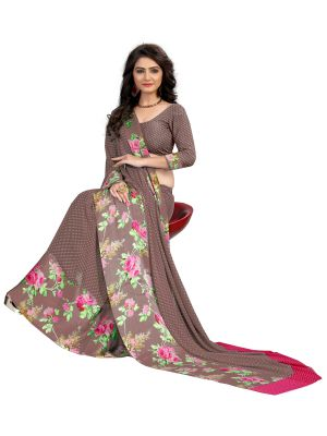 Buy Kotton Mantra Brown Georgette Printed Saree With Blouse Piece (kmrq010) online