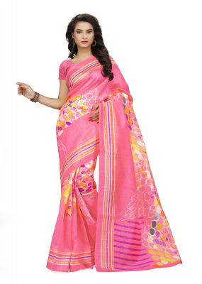Buy Kotton Mantra Pink Cotton Silk Printed Designer & Party Wear Saree With Blouse Piece (kms5v1107) online